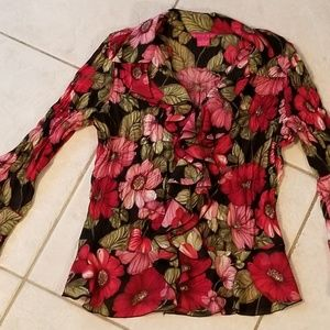 Sunny Leigh Ruffled Front Blouse -Size Small